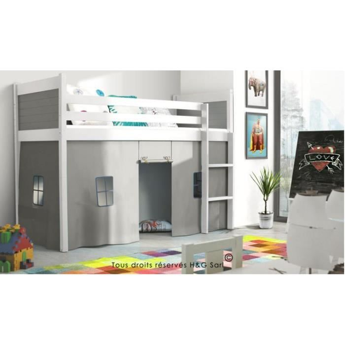 lit mezzanine enfant sasha blanc gris achat vente. Black Bedroom Furniture Sets. Home Design Ideas