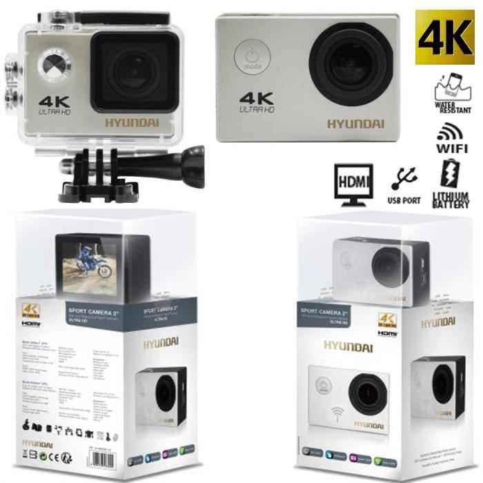 cam ra actioncam hyundai 4k evo h4k2 ultra hd 25fps 12mp champ large 170 wifi achat. Black Bedroom Furniture Sets. Home Design Ideas