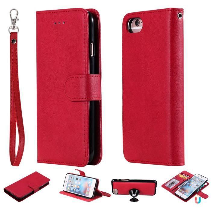 coque iphone 6s iphone 6 rouge cuir premium flip p