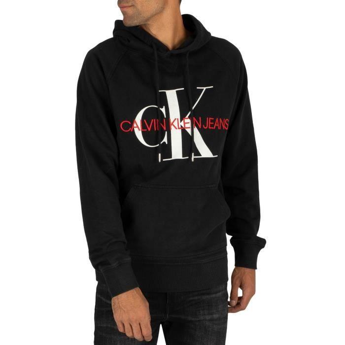 Calvin Klein Jeans Pour des hommes Sweat à capuche lavé monogramme, Noir