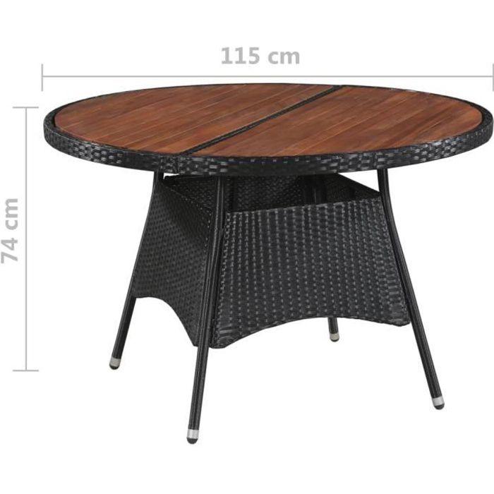 Table jardin Ronde Table Jardin Resine Tressee Table de Manger d\'Extérieur  Marron et Noir 115 x 74 cm