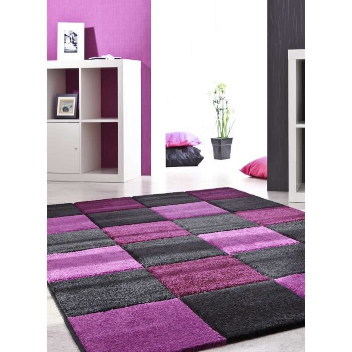 tapis tapis salon a carreaux bordeaux lilas 140x200 par. Black Bedroom Furniture Sets. Home Design Ideas