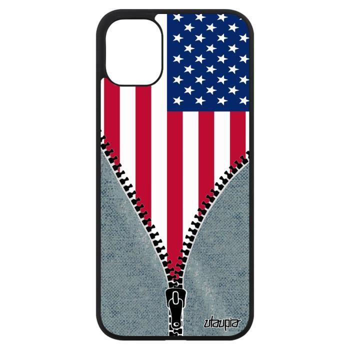 Coque iPhone 11 silicone drapeau etats unis usa am