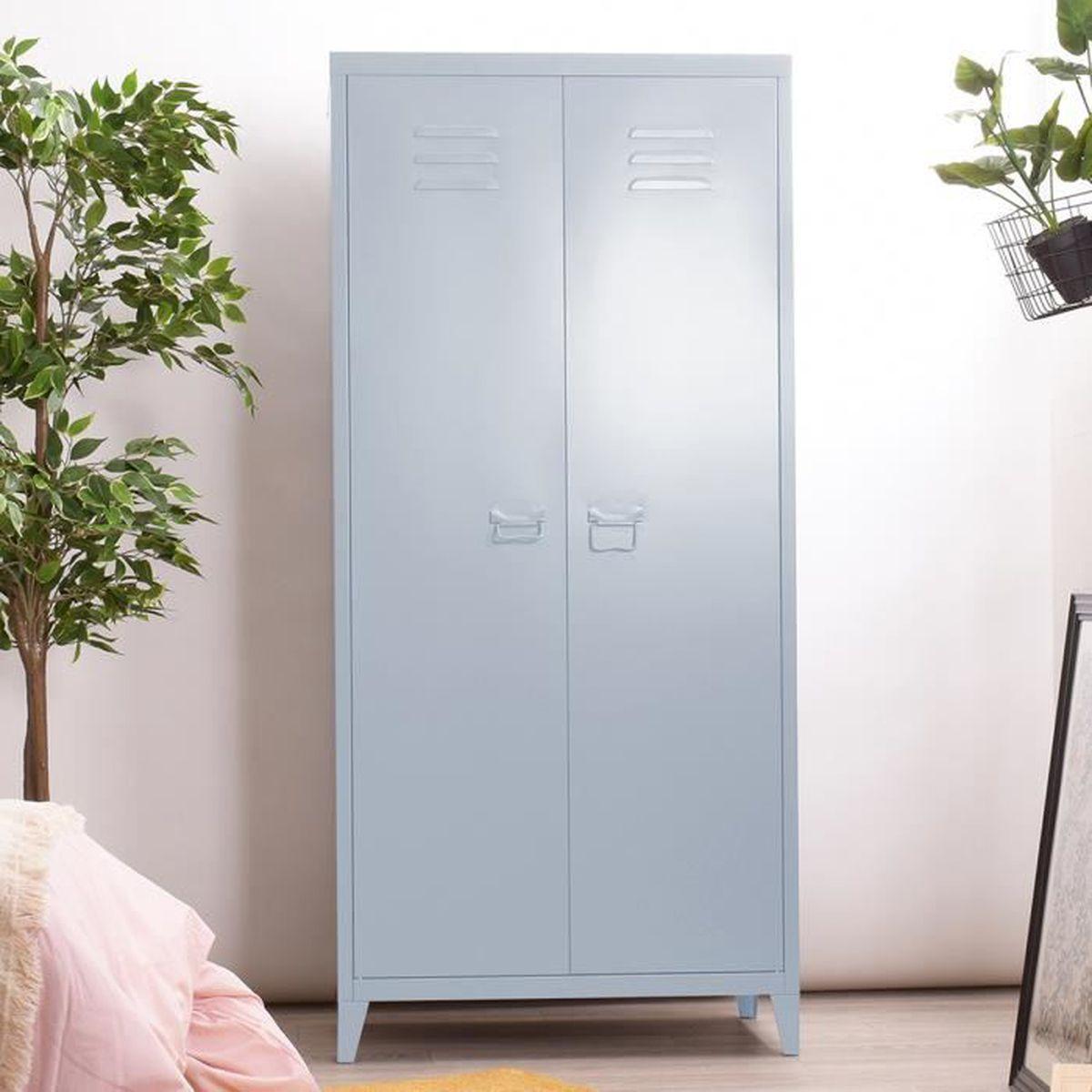 Armoire Dressing Chambre Adulte dressing 2 portes en métal, meuble range-balai armoire
