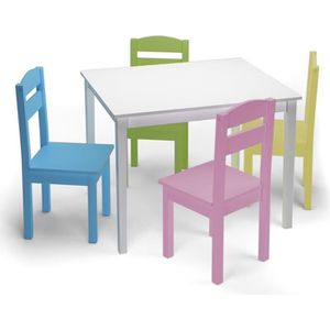 TABLE ET CHAISE Ensemble Table et Chaises Enfant en Bois pour Trav