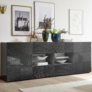 BUFFET - BAHUT  Enfilade 240 cm design gris laqué NERINA 2 L 241 x