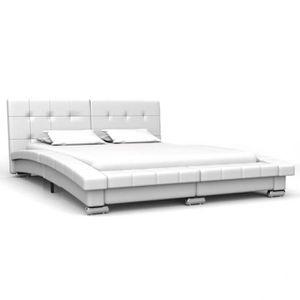 STRUCTURE DE LIT Cadre de lit Blanc Simili-cuir 200 x 140 cm - DM28