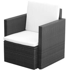 Ensemble table et chaise de jardin Fauteuil Résine tressée 65 x 65 x 73 cm Noir
