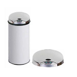 POUBELLE - CORBEILLE Poubelle Automatique en métal 45L Blanche - Dim :