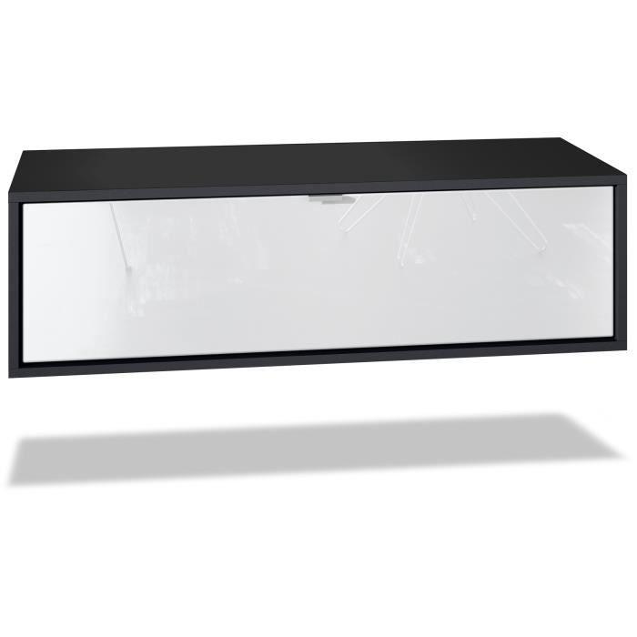 Meuble TV Lana 80 armoire murale lowboard 80 x 29 x 37 cm, caisson en blanc mat, façades en Blanc haute brillance
