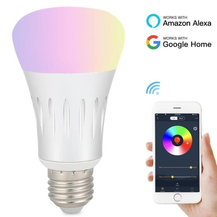 E27 RGB Ampoule Intelligente LED WiFi Connectée Remote Control Ampoule Dimmable Lampe D'économie D'énergie Lumiere Colorée