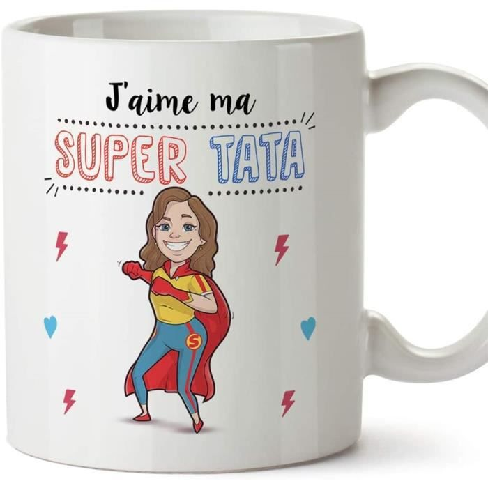 Tata Mug - Tasse - J'aime ma Super Tata - Tasse Originale - Cadeau Anniversaire - Future Tante. Céramique 350 ML 1