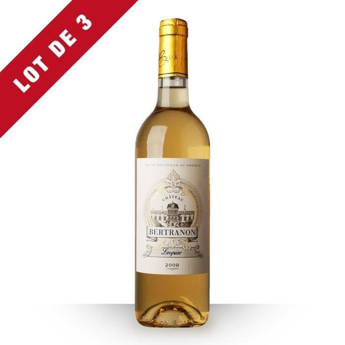 3X Château Bertranon 2009 Blanc 75cl AOC Loupiac - Vin Blanc