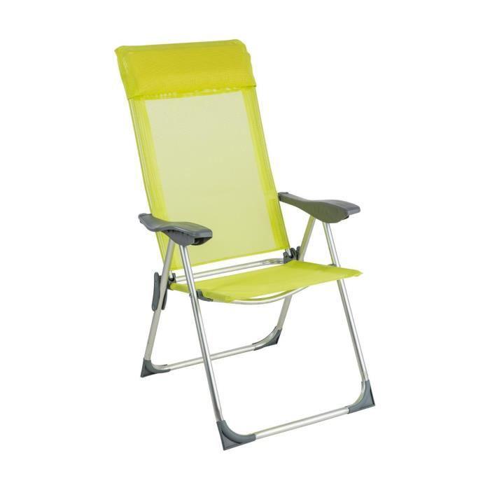 Be Toys - Fauteuil chaise pliante de camping Aloe 5 Positions Vert