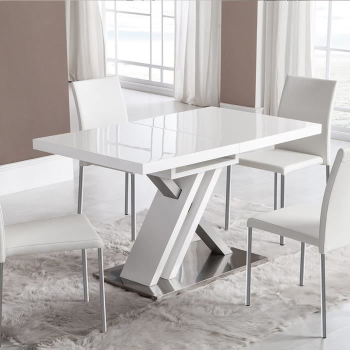 Table extensible laquée blanche design MONTANA Blanc