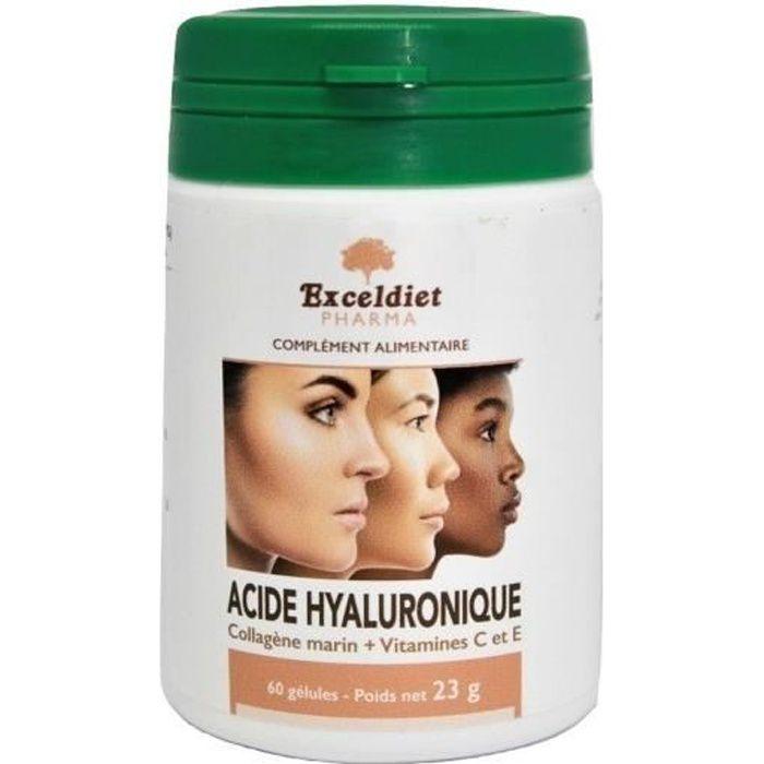Acide Hyaluronique - Collagène Marin - Vitamine C - Vitamine E - 60 Gélules - Atténue les Rides - Visage - Protège les Articulations