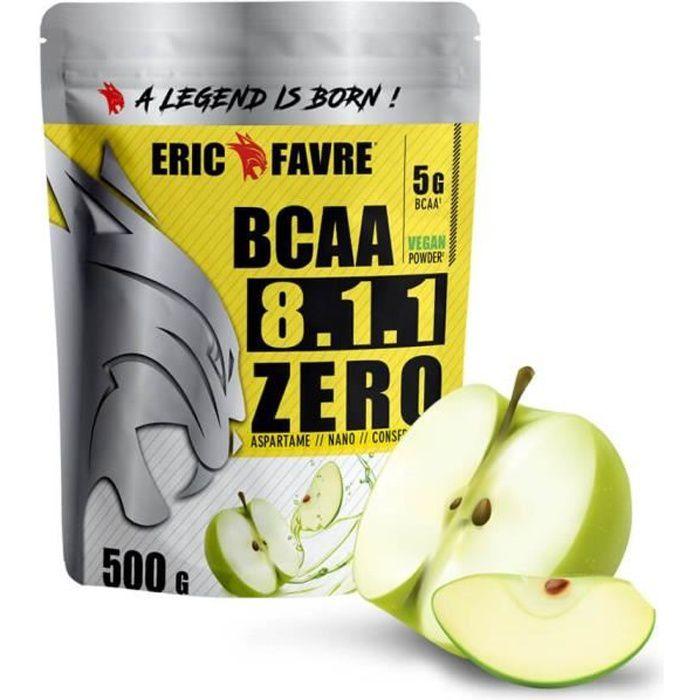 BCAA POUDRE 8.1.1 Zero - Acides Aminés Musculation Vegan 500 Gr - Laboratoire Français Eric Favre (Pomme verte)