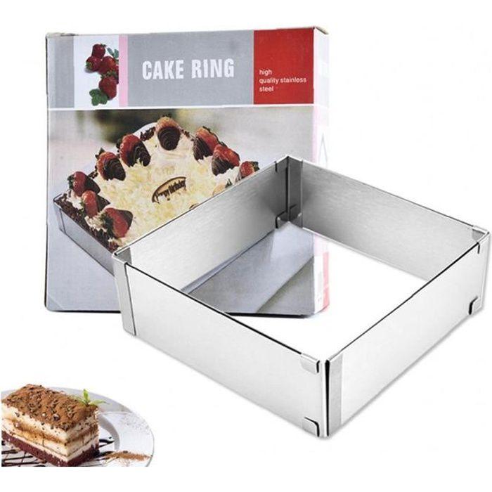 1pc Moule à gâteau réglable Anneau gâteau Mousse Anneau en acier inoxydable gâteau bague carrée gâteau moule pâtisserie cuisson outi
