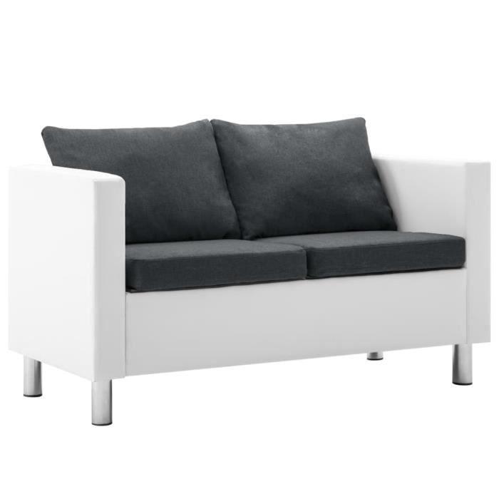 Canapé droit fixe 2 places Moderne Sofa de salon Canapé de relaxation Faux cuir Blanc et gris foncé Chic *869919