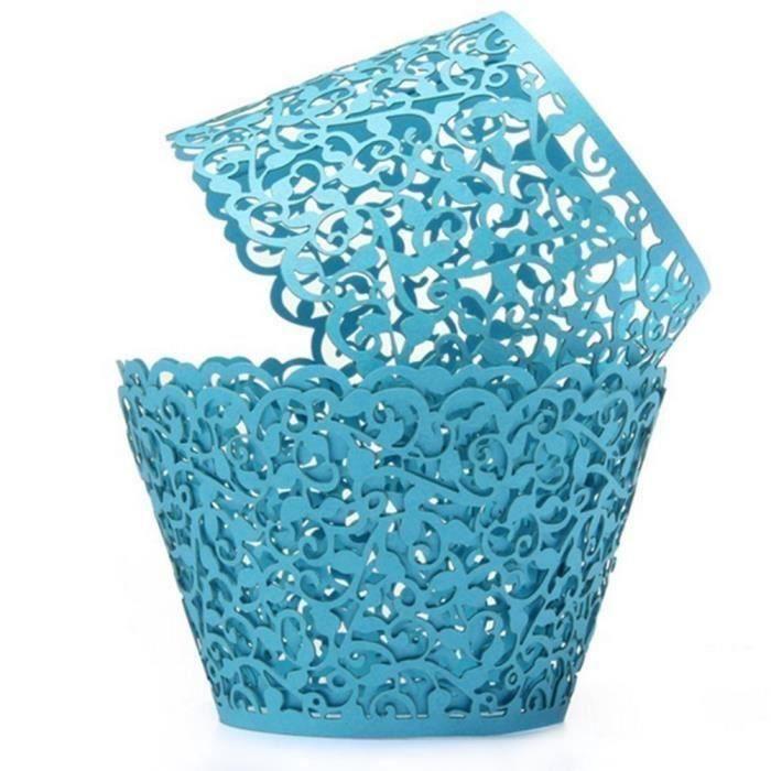 50Pcs Caissettes Cupcake en Papier Moules Décoratifs pour Gâteaux Muffins Motif de Vigne de Dentelle -BleuWF762232 LIFFT1716