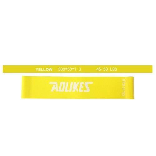 Couleur jaune Elastiques de bandes de tension de résistance 50cm 6 niveaux de bandes en caoutchouc boucles