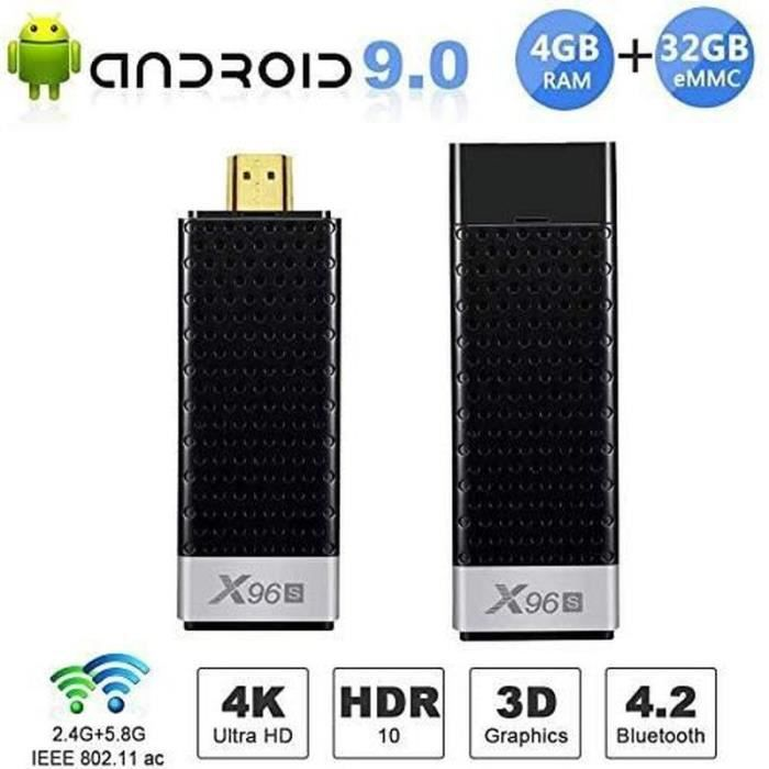 TV Stick ROGUCI® Android TV 8.1 4 Go RAM 32 Go Dual Wi-Fi 2.4 G 5,8 G Bluetooth 3D, prise en charge HDR HLG