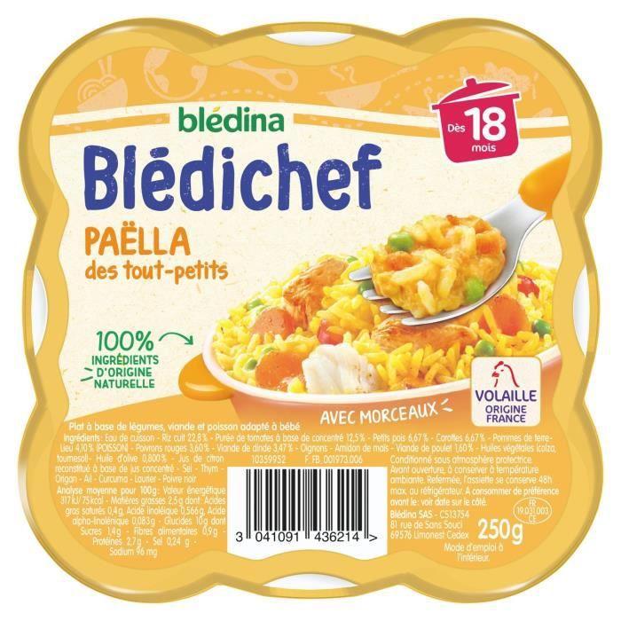 LOT DE 9 - BLEDINA Blédichef Paëlla des tout-petits - Plat bébé - Dès 18 mois - Coupelle de 250g