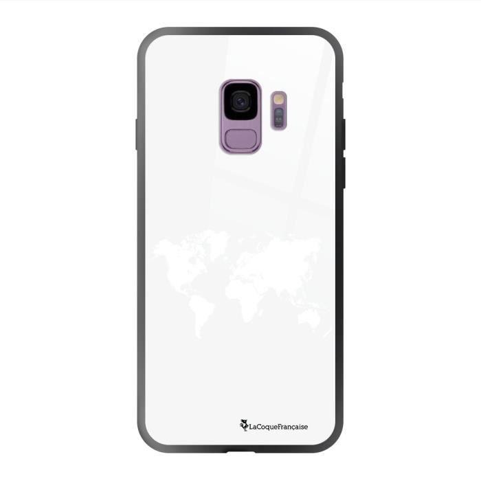 Coque en verre trempé Samsung Galaxy S9 Carte du Monde Ecriture Tendance et Design La Coque Francaise