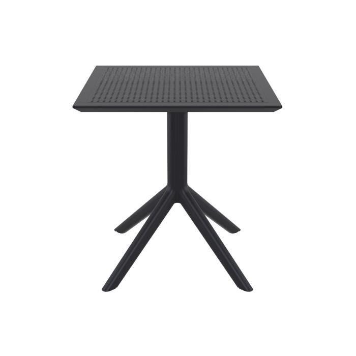 Miliboo - Table à manger carrée design noire intérieur / extérieur OSKOL
