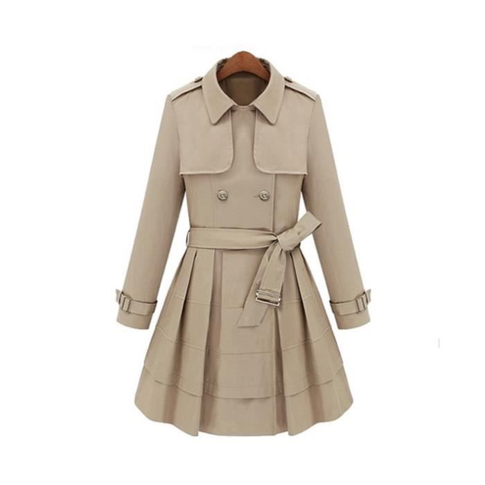Trench-coat coupe patineuse beige S