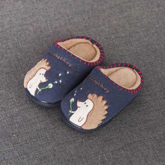 Toddler Boys Girls Fluffy Little Kids Chaussures Chaud Mignon Animal Home Pantoufle Marine