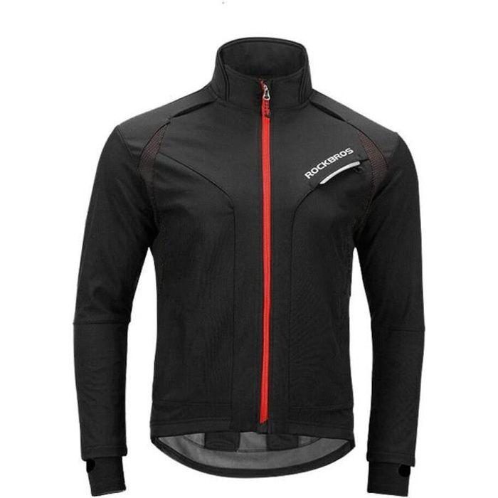 Cyclisme Veste de Vélo VTT ROCKBROS Blouson Polaire Homme Chauffante Hiver Coupe-Vent Imperméable Noir