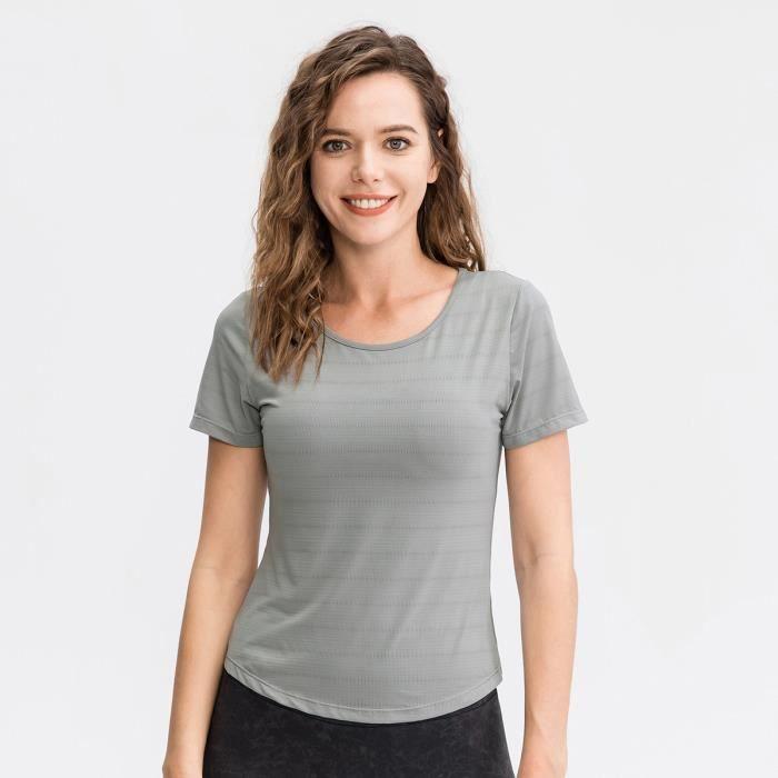 T-shirt De Sport Respirant Femme Pour Yoga, Entrainement, Running, Fitness, Gym