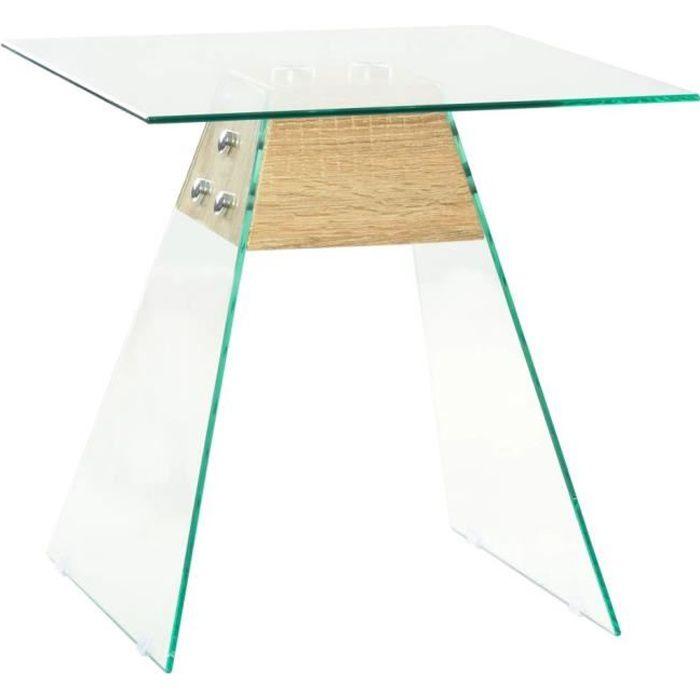 Table d'appoint-Table Basse Bout de canapé Salon MDF et verre 45 x 45 x 45 cm Couleur de chêne