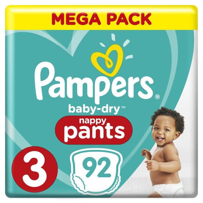 Pampers Baby-Dry Pants Taille 3, 6 à 11 kg, 92 Couches-Culottes - Mega Pack