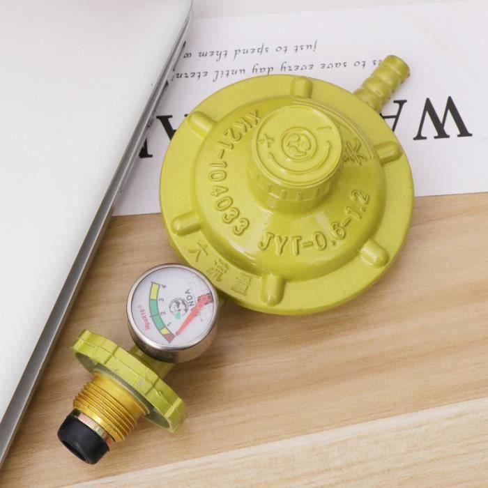 Régulateur de gaz propane avec manomètre Manomètre Jauge de niveau pour BBQ Camping Cookers Plombier Caravan (Jaune) CHAUFFE-EAU