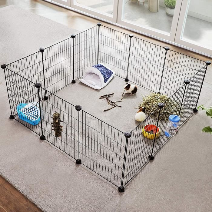 SONGMICS Enclos modulable Cage intérieur Maillet en Caoutchouc Offert Cochon d'Inde Lapin 143 x 73 x 36 cm (L x l x H), Noir LPI01H