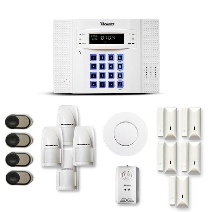 Alarme maison sans fil DNB 4 à 5 pièces mouvement + intrusion + détecteur de fumée + gaz - Compatible Box / GSM
