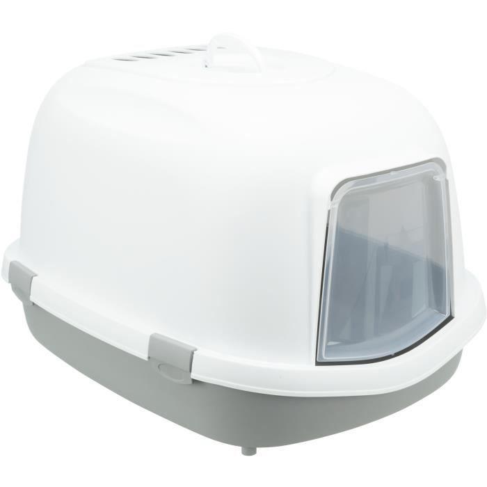 TRIXIE Bac à litière Primo Top avec couvercle - XXL - 56 x 47 x 71 cm - Gris et blanc - Pour chat