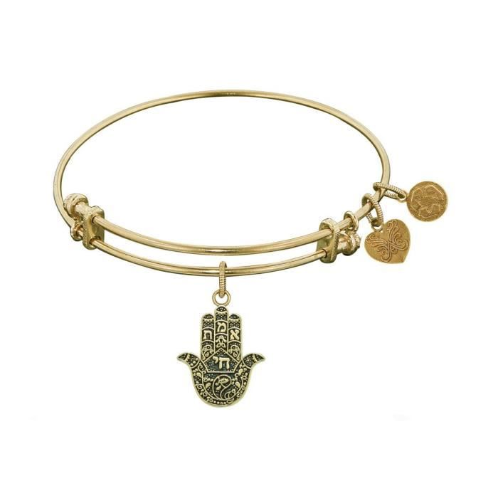 Womens Antique Stipple Finish Brass Hamsa Bangle Bracelet ZOA23