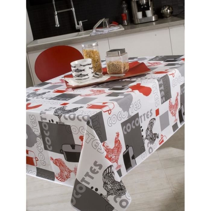 nappe en toile cir e rectangulaire 140x200 cm poule. Black Bedroom Furniture Sets. Home Design Ideas