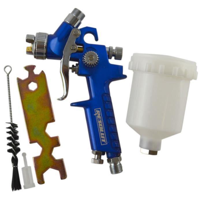 peinture de voiture dessin artistique bleu Mini pistolet /à peinture /à air 125 ml avec buse de 1,0 mm pour la peinture de meubles Riloer HVLP Pistolet pulv/érisateur /à alimentation par gravit/é