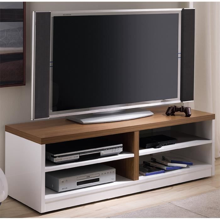 meuble tv blanc en bois h49 x p40 x l120 cm achat vente meuble tv meuble tv blanc noyer. Black Bedroom Furniture Sets. Home Design Ideas