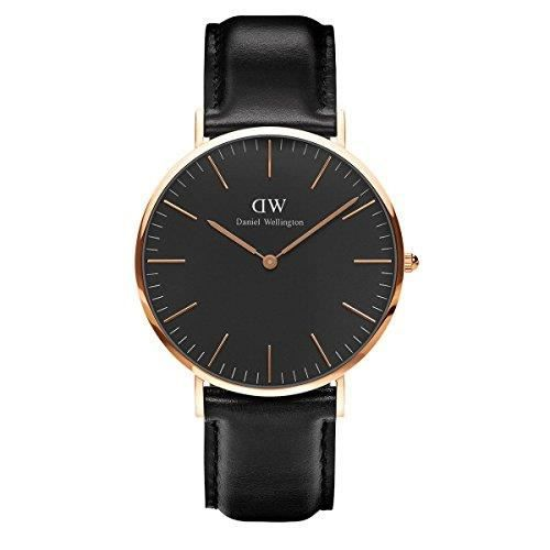 montre mixte daniel wellington classic nior femme 36mm cadran or rose bracelet cuir dw00100139. Black Bedroom Furniture Sets. Home Design Ideas