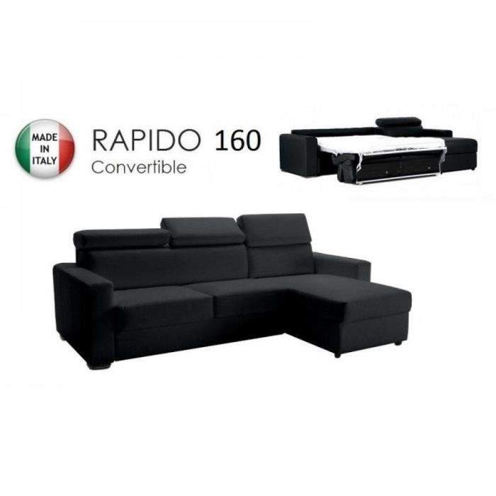 Canap d 39 angle r versible rapido sidney 160 cm achat vente canap - Canape d angle convertible systeme rapido ...