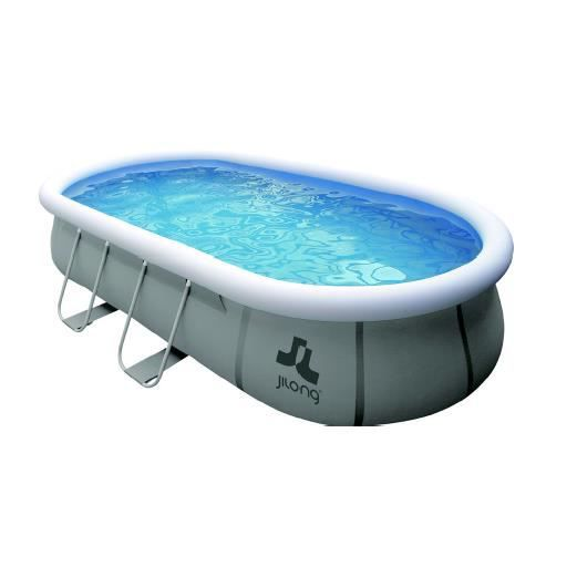 Piscine ovale autoportante avec structure grise for Achat piscine autoportante