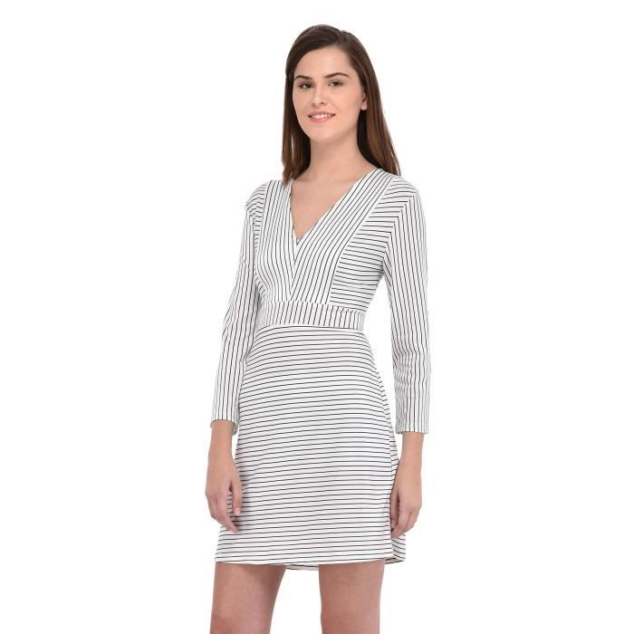 Womens Totzny - Brooklyn White & Black Polyester Stripes 4 Way Regular Dress ForOTAKH Taille-36