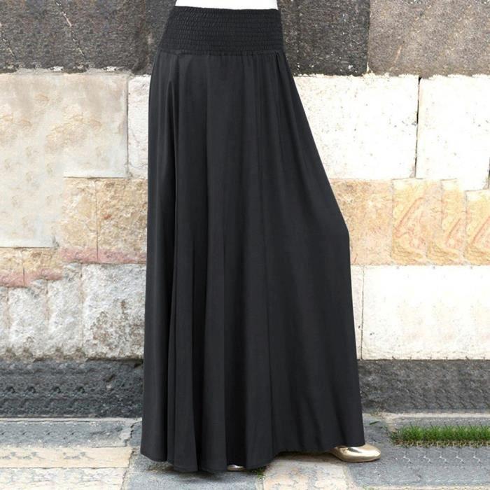 Taille Élastique Jupe Longue Hiver Noir Solide Pli Style Femmes Ressort Automne