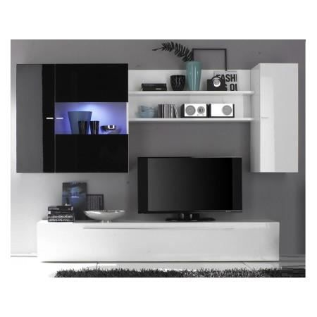 ensemble meuble tv murale noir blanc laqu le achat vente meuble tv ensemble meuble tv. Black Bedroom Furniture Sets. Home Design Ideas