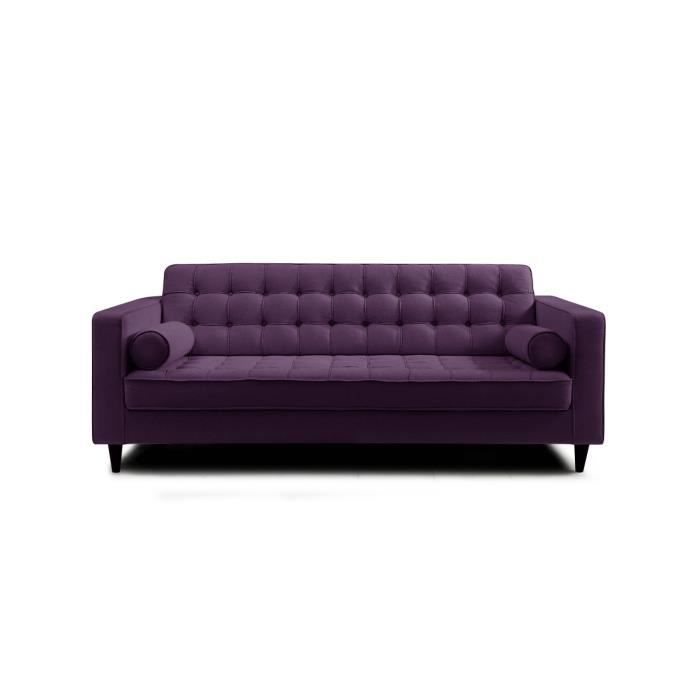 canap en lin aubergine 3 places ken achat vente. Black Bedroom Furniture Sets. Home Design Ideas